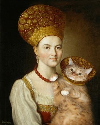 Argunov portait ofa ukrainian woman and cat